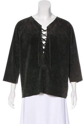 Isabel Marant Leather Lace-Up Top