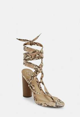 e44ff5e3c604 Missguided Nude Snake Print Wrap Block Heel Sandals