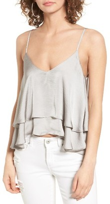 Women's Leith Satin Ruffle Tank $45 thestylecure.com