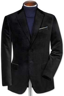 Slim Fit Black Velvet Cotton Blazer Size 36 by Charles Tyrwhitt