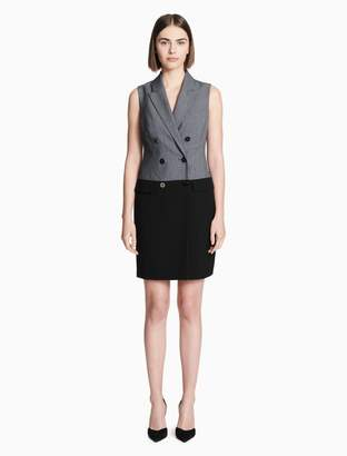 Calvin Klein colorblock double breasted sleeveless blazer dress
