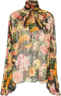 Dolce & Gabbana Sheer Floral Chiffon Pussybow Blouse