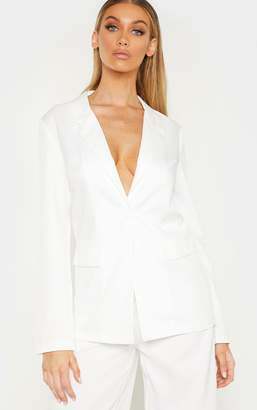 PrettyLittleThing Tall Cream Oversized Woven Suit Blazer