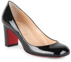 Christian Louboutin Cadrilla 70 Patent Leather Block Heel Pumps $625 thestylecure.com