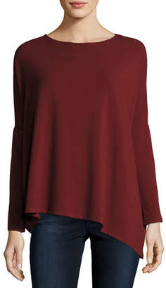 Neiman Marcus Majestic Paris for Asymmetric Boat-Neck French Terry Top