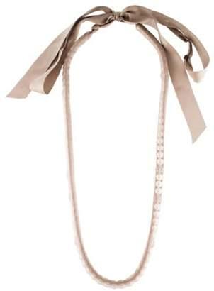 Lanvin Faux Pearl & Grosgrain Necklace Beige Faux Pearl & Grosgrain Necklace