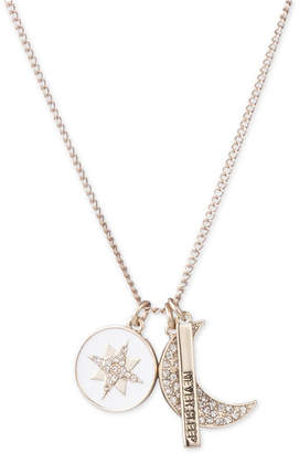 "DKNY Gold-Tone Triple Charm Crystal ""Never Sleep"" Pendant Necklace, 16"" + 3"" extender"