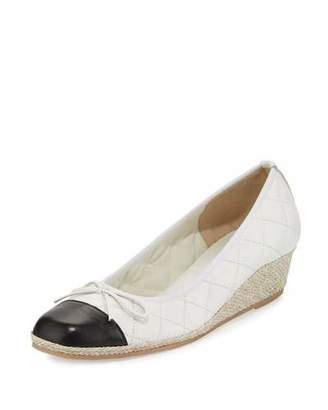Sesto Meucci Margie Quilted Cap-Toe Wedge Pump, White