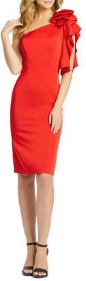 Mac Duggal One-Shoulder Asymmetric Ruffle-Sleeve Dress