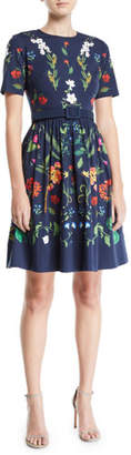 Oscar de la Renta Short-Sleeve Floral-Print Fit-and-Flare Day Dress