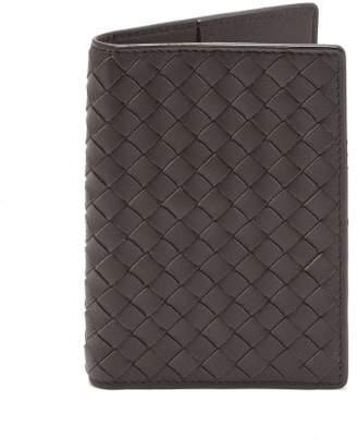 Bottega Veneta Intrecciato Leather Passport Holder - Mens - Dark Brown