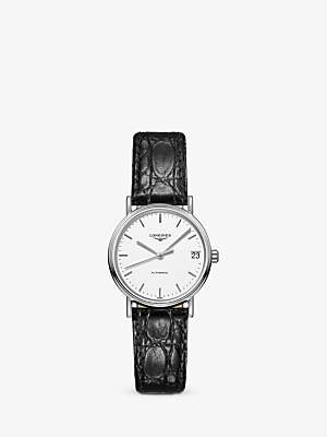 Longines L43224122 Women's Presence Automatic Date Leather Strap Watch, Black/White