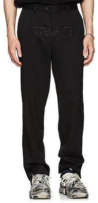 Vetements Men's Embroidered Wool Twill Trousers