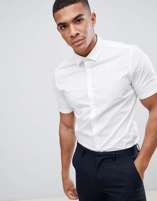 Asos Design DESIGN stretch slim formal work shirt with short sleeves in white