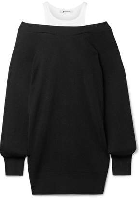 Alexander Wang Off-the-shoulder Layered Ribbed Merino Wool-blend And Cotton Mini Dress - Black