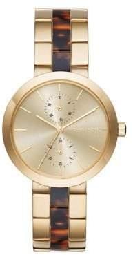 Michael Kors Garner Goldtone Stainless Steel Multi-Function Bracelet Watch