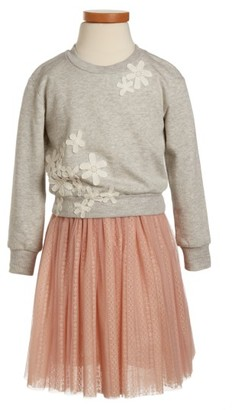 Toddler Girl's Truly Me Floral Applique Tulle Dress $68 thestylecure.com