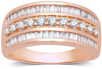 FINE JEWELRY Womens 1 CT. T.W. Genuine White Diamond 10K Rose Gold Anniversary Band