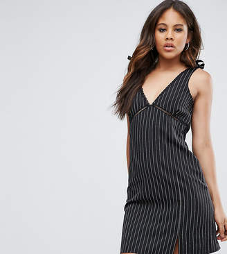 Missguided Tall Pinstripe Tie Shoulder Mini Dress