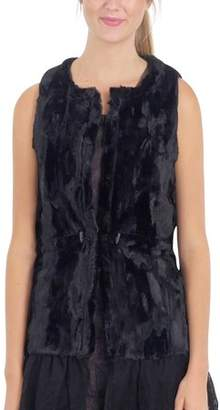 MELODY Women Fashion Faux Fur Round Neck Vest with Lace Bottom (BLACK, MEDIUM)