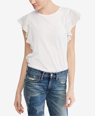 Polo Ralph Lauren Eyelet Jersey Cotton Top
