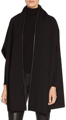 St. John Leather Trim Milano Knit Shawl Collar Cardigan