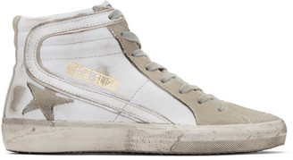 Golden Goose White & Grey Slide High-Top Sneakers $450 thestylecure.com