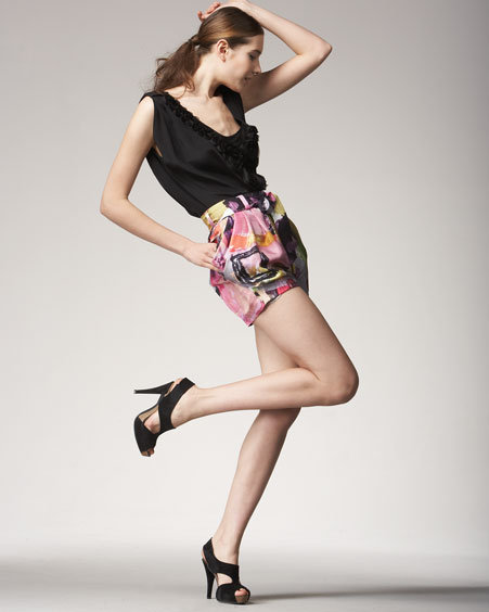 Ali Ro Silk Brushstroke Shorts