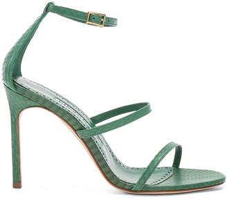 Manolo Blahnik Piona Matte Snake 105 Heel in Green | FWRD