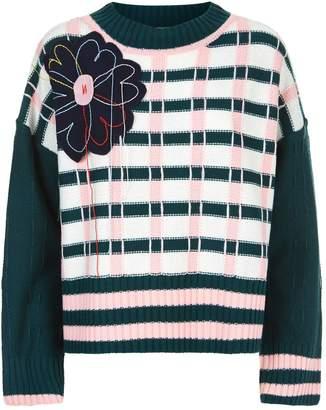 Mira Mikati Applique Check Knitted Sweater