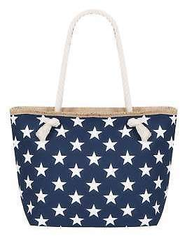 Yours Clothing Women's Star Print Beach Bag With Rope Handles