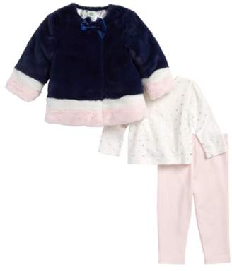 Little Me Faux Fur Jacket, Tee & Leggings Set