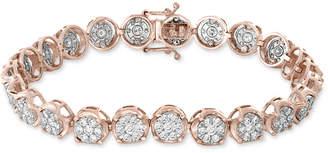 Effy Diamond Cluster Link Bracelet (3-3/4 ct. t.w.) in 14k White & Rose Gold