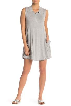 J Valdi Heathered Mock Neck Zip Tank Dress