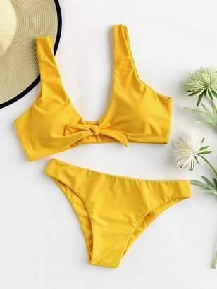d9ef80c77f Shein Scoop Back Bow Tie Top With High Leg Bikini Set