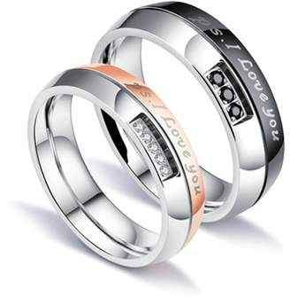 "Proenza Schouler Bishilin 2 Pcs Couple Rings Stainless Steel Engraving I love you"" CZ Women Size 5&Men Size 8"