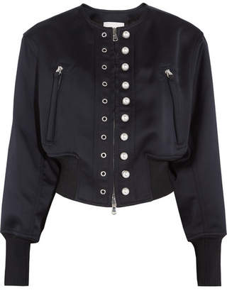 3.1 Phillip Lim - Faux Pearl-embellished Satin-jersey Bomber Jacket - Midnight blue $850 thestylecure.com