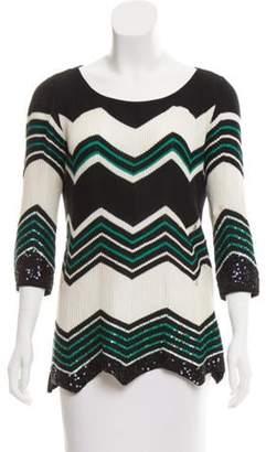 Calypso Embellished Chevron Sweater Navy Embellished Chevron Sweater