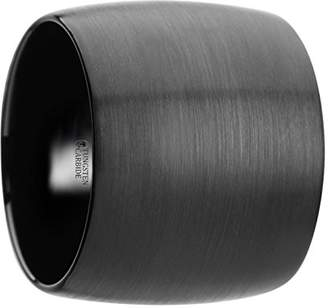 Aether Thorsten Rings Domed Black Tungsten Carbide Ring with Brushed Finish - 20 mm