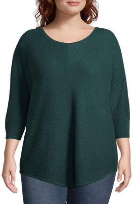 Boutique + + 3/4 Sleeve Scoop Neck Pullover Sweater-Plus