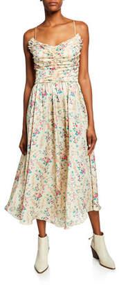 Jill Stuart Mini Floral-Print Shirred Bustier Charmeuse Midi Dress