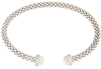 Italian Silver Diamond Cut Crystal Accent CuffSterling