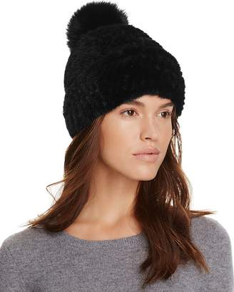 Maximilian Furs Mink Fur Hat with Fox Fur Pom-Pom - 100% Exclusive