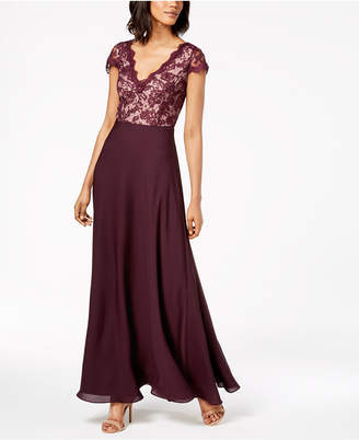 Calvin Klein V-Neck Lace & Chiffon Gown