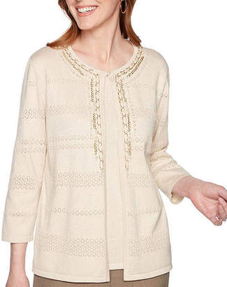 Alfred Dunner Boardroom Womens Round Neck 3/4 Sleeve Layered Sweaters