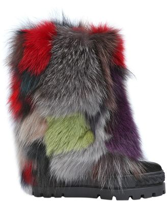 120mm Patchwork Fox & Suede Wedge Boots $1,420 thestylecure.com
