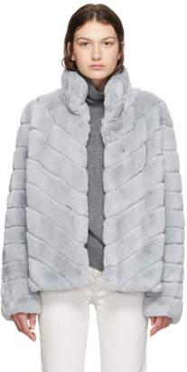 Yves Salomon Grey Rex Rabbit Fur Short Jacket