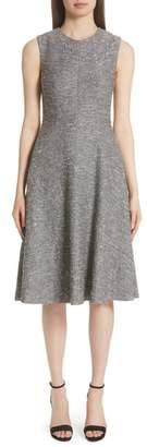 Lela Rose Sequin Embroidered Tweed Fit & Flare Dress