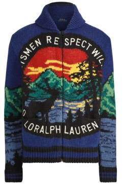 Polo Ralph Lauren Men's Great Outdoors Intarsia Full Zip Cardigan - Blue Multi - Size Large