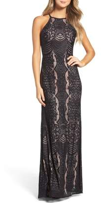 Morgan & Co. Lace Halter Gown
